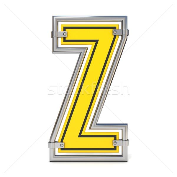 Stock photo: Framed traffic road sign FONT letter Z 3D