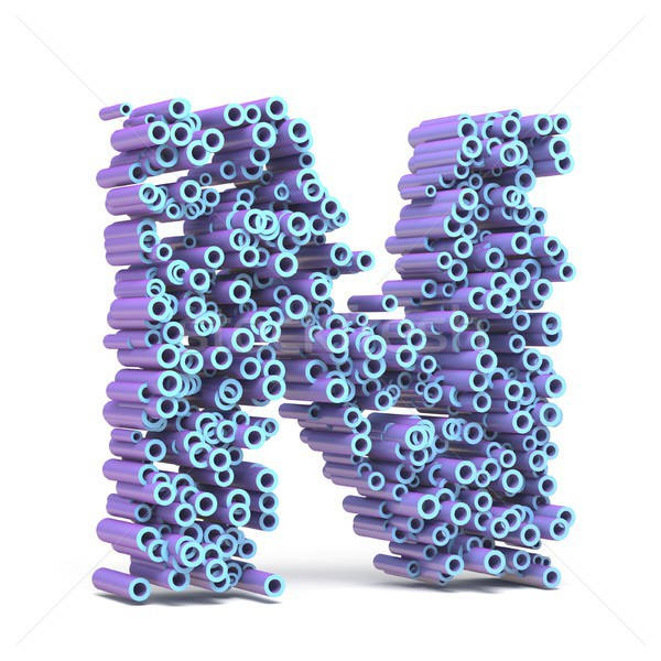 Purple blue font made of tubes LETTER N 3D Stock photo © djmilic