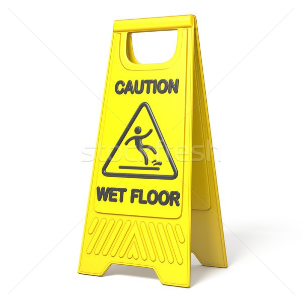 Yellow caution slippery wet floor sign 3D Stock photo © djmilic