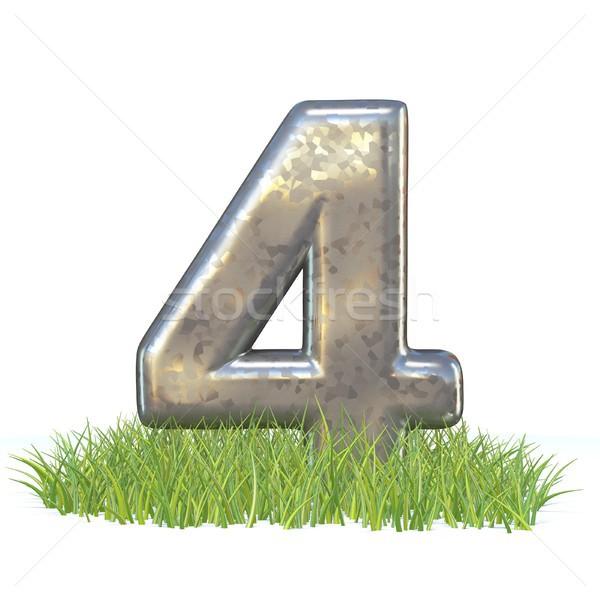 гальванизированный металл шрифт числа четыре трава Сток-фото © djmilic