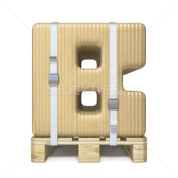 Cardboard box font Letter B on wooden pallet 3D Stock photo © djmilic