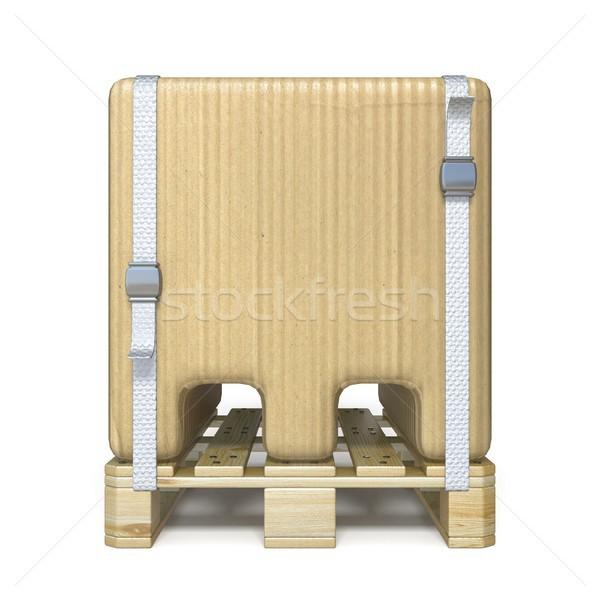 Kartondoboz betűtípus m betű fából készült 3D 3d render Stock fotó © djmilic