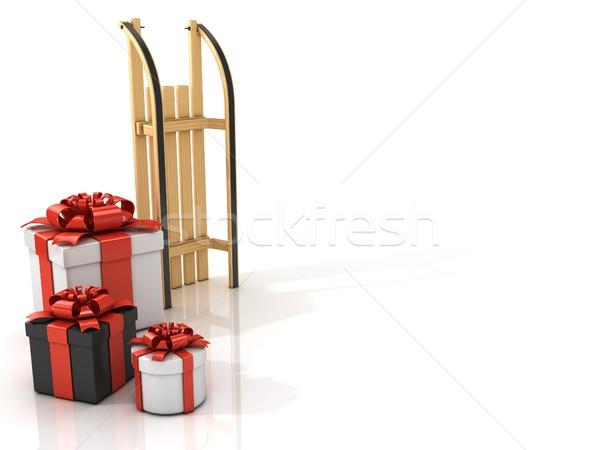 áll fából készült szánkó karácsony ajándékok 3D Stock fotó © djmilic