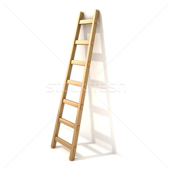 木製 はしご 白 壁 3D 3dのレンダリング ストックフォト © djmilic