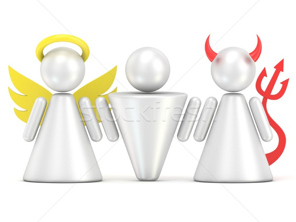 Temptation concept. Man, angel and devil figures. 3D Stock photo © djmilic