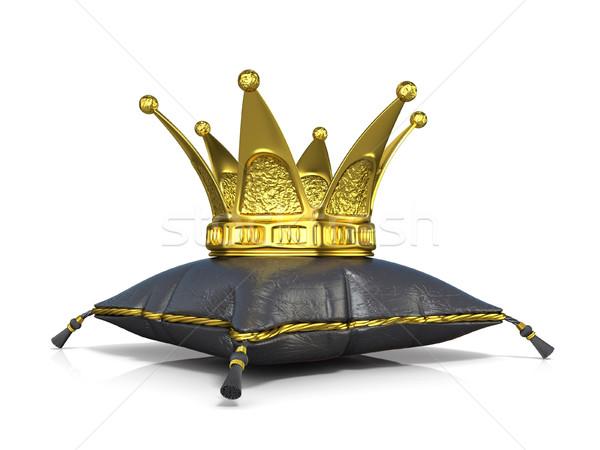 Stock fotó: Királyi · fekete · bőr · párna · arany · korona