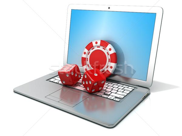 Stockfoto: Laptop · Rood · dobbelstenen · chip · 3D