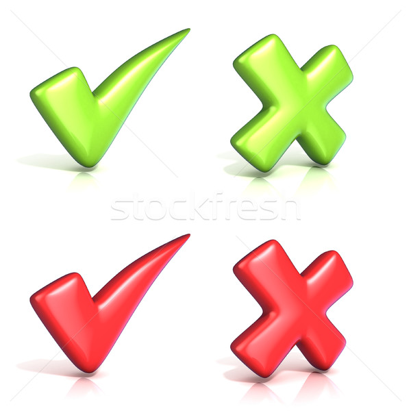 Correct and incoorrect check marks. 3D Stock photo © djmilic