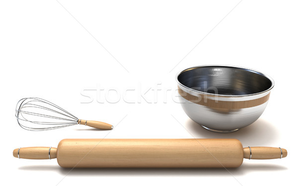 Wire whisk, wooden rolling pin and chrome bowl 3D Stock photo © djmilic