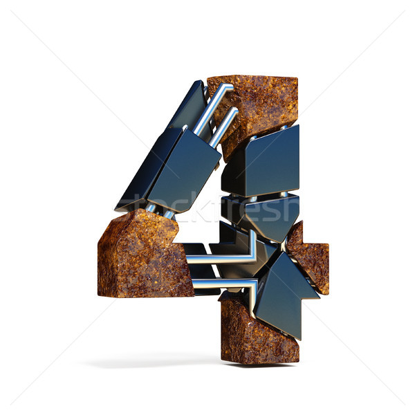 Black brown fracture font number 4 FOUR 3D Stock photo © djmilic