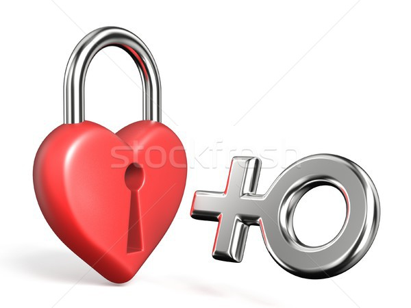 Corazón candado femenino signo 3D Foto stock © djmilic