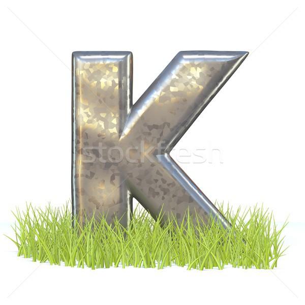 гальванизированный металл шрифт письме трава 3D Сток-фото © djmilic