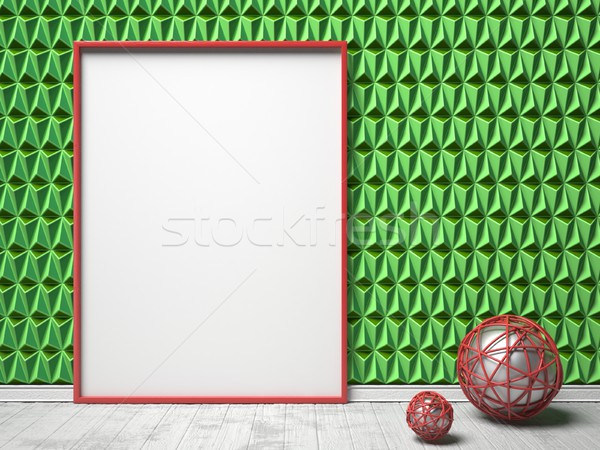Blank picture frame and red sphere decor on green triangulated b Stock photo © djmilic
