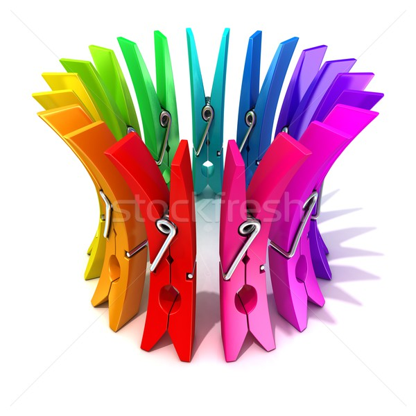 Colorful plastic clothes pegs 3D Stock photo © djmilic