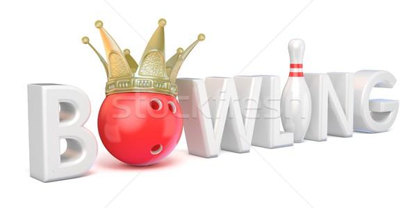Stok fotoğraf: Kelime · bowling · taç · bowling · topu · pin · 3D