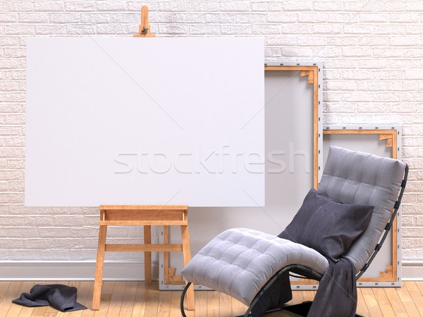 Mock up canvas frame with grey easy chair, easel, floor and wall Stock photo © djmilic