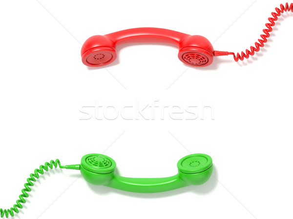Retro red and green phone receivers lie opposite each other. 3D Stock photo © djmilic