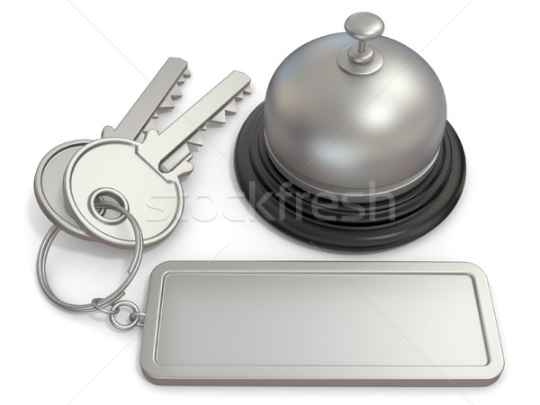 Hotel key with rectangular blank label on ring and reception bel Stock photo © djmilic