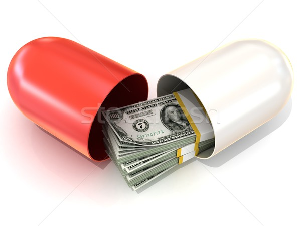 Opened red pill capsule, with dollars stack inside Stock photo © djmilic