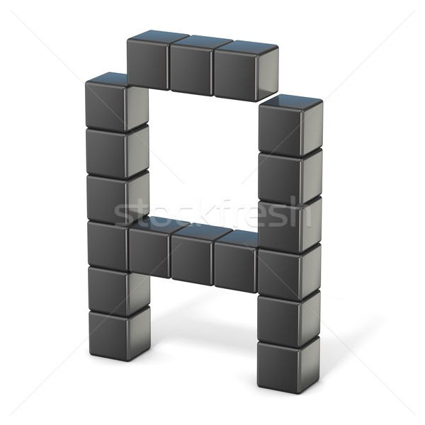 8 bit font. Capital letter A. 3D Stock photo © djmilic