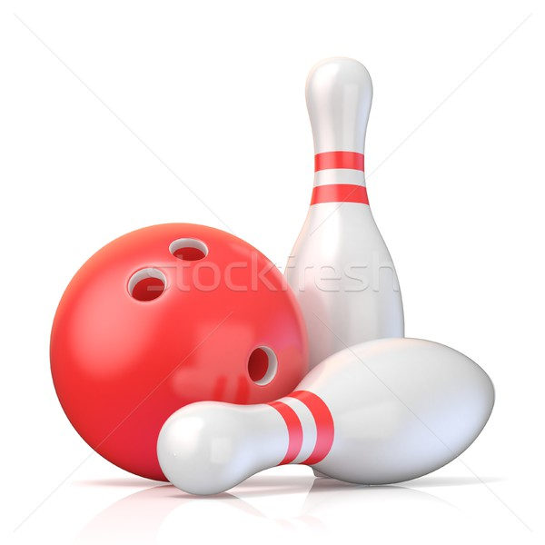Boule de bowling 3D rendu 3d illustration isolé blanche Photo stock © djmilic