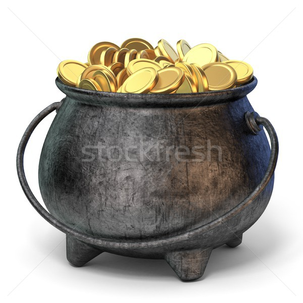 Stock photo: Iron pot full of golden coins 3D
