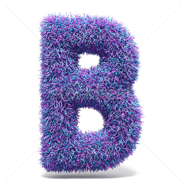 Purple faux fur LETTER B 3D illustration Stock photo © djmilic