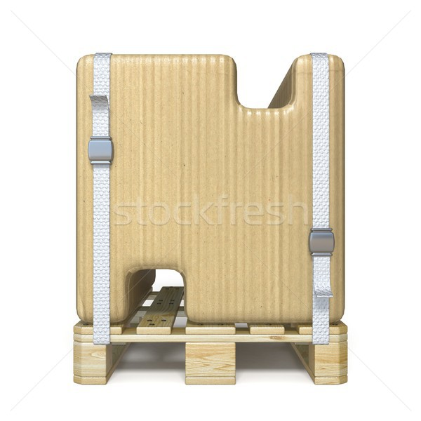 Cardboard box font Letter N on wooden pallet 3D Stock photo © djmilic
