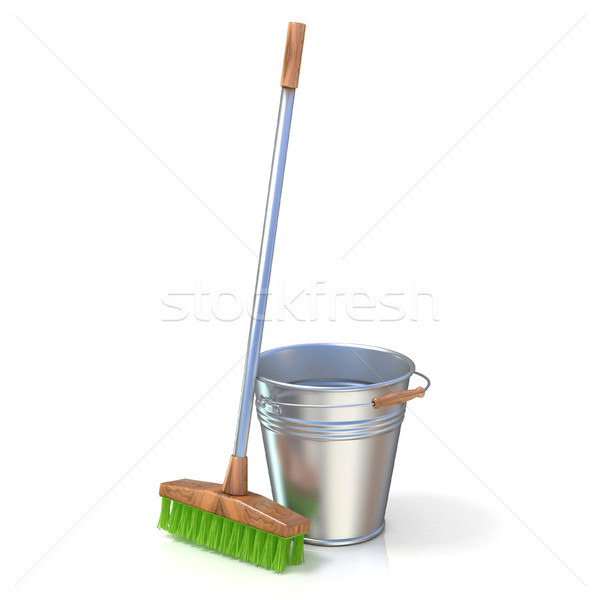 Cleaning equipment. Bucket and mop. 3D Stock photo © djmilic