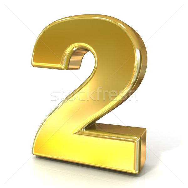 Numerical digits collection, 2 - TWO. 3D golden sign Stock photo © djmilic