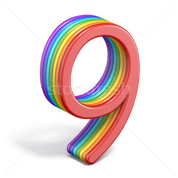 Regenboog doopvont aantal negen 3D Stockfoto © djmilic
