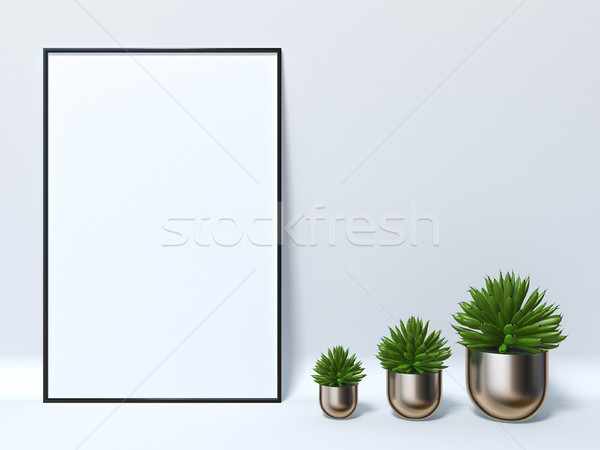 Mock up poster with three succulent pots 3D Stock photo © djmilic