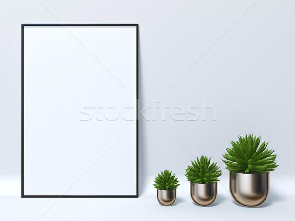 Up poster tre succulente 3D rendering 3d Foto d'archivio © djmilic
