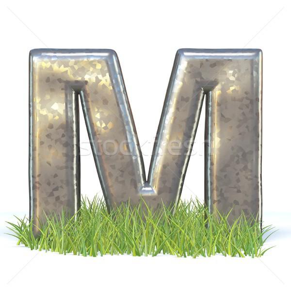 Galvanizált fém betűtípus m betű fű 3D Stock fotó © djmilic
