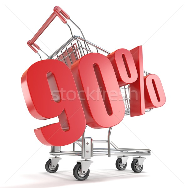 90% - ninety percent discount in front of shopping cart. Sale co Stock photo © djmilic