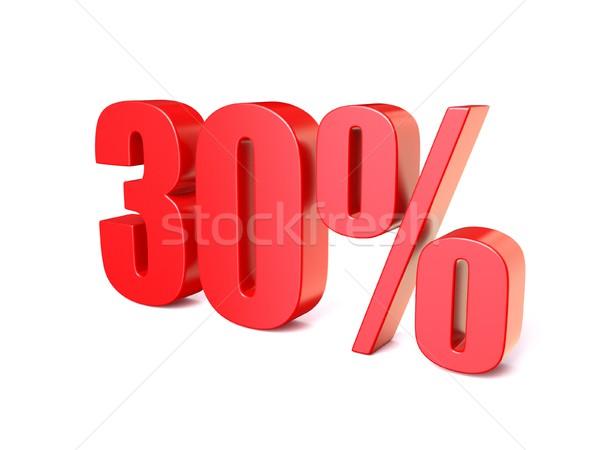 Rosso percentuale segno 30 3D rendering 3d Foto d'archivio © djmilic