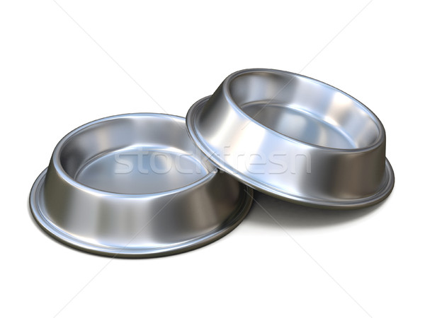 Twee chroom huisdier kommen voedsel 3D Stockfoto © djmilic