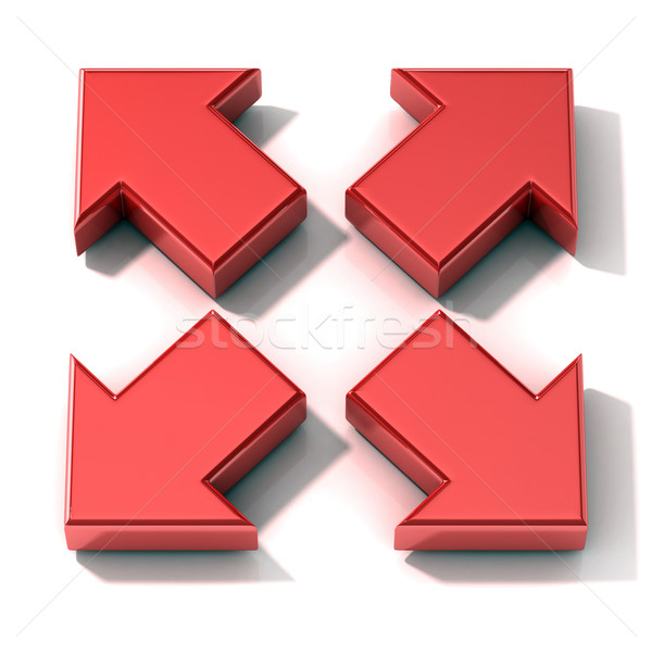 Red 3D arrows expanding. Top view Stock photo © djmilic