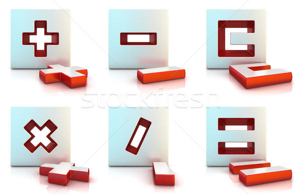 Plus, minus, multiply, divide, equally and clear sign. 3D Stock photo © djmilic