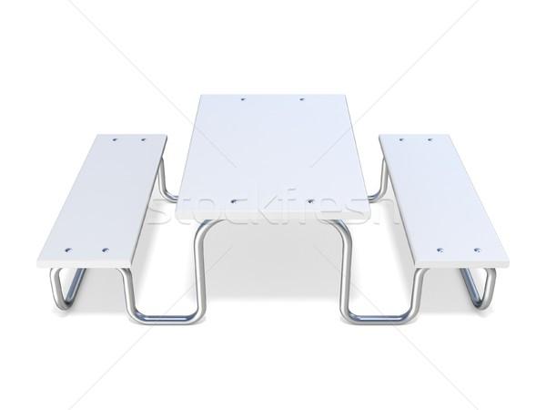 Witte picknicktafel 3D 3d render illustratie geïsoleerd Stockfoto © djmilic