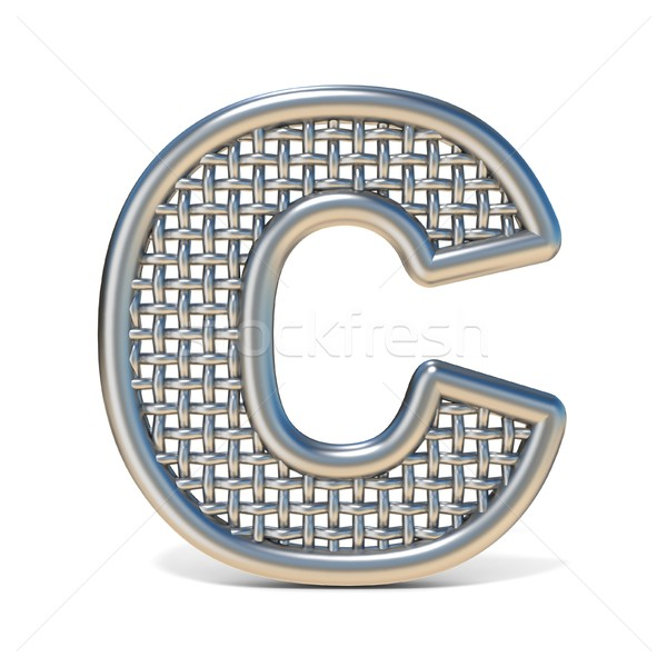 Outlined metal wire mesh font LETTER C 3D Stock photo © djmilic