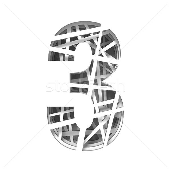 Papír kivágás betűtípus szám három 3D 3d render Stock fotó © djmilic
