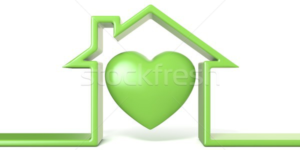 Heart in house made of green line 3D Stock photo © djmilic