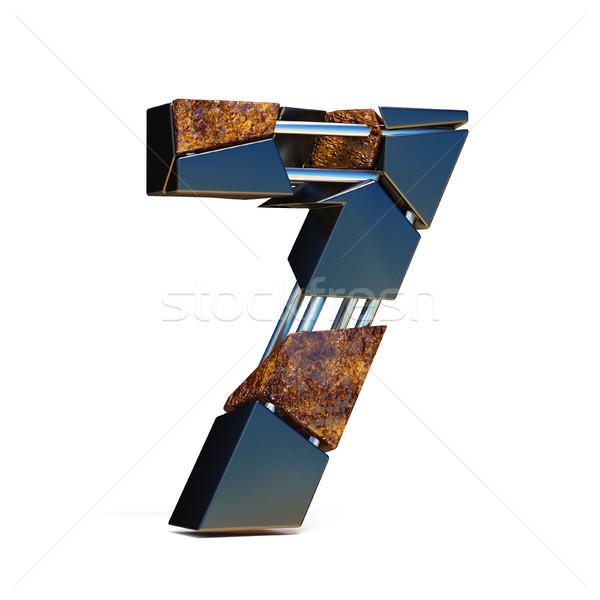 Black brown fracture font number 7 SEVEN 3D Stock photo © djmilic