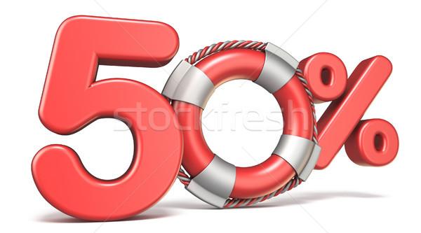 Salvagente 50 cento segno 3D rendering 3d Foto d'archivio © djmilic