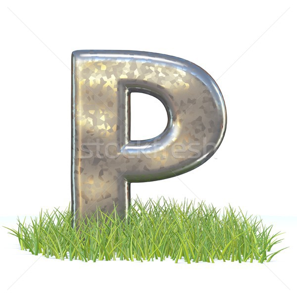 Galvanized metal font Letter P in grass 3D Stock photo © djmilic