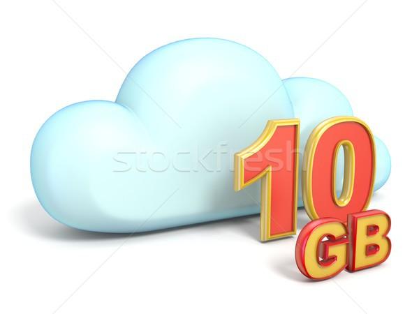 Cloud icon 10 GB storage capacity 3D Stock photo © djmilic