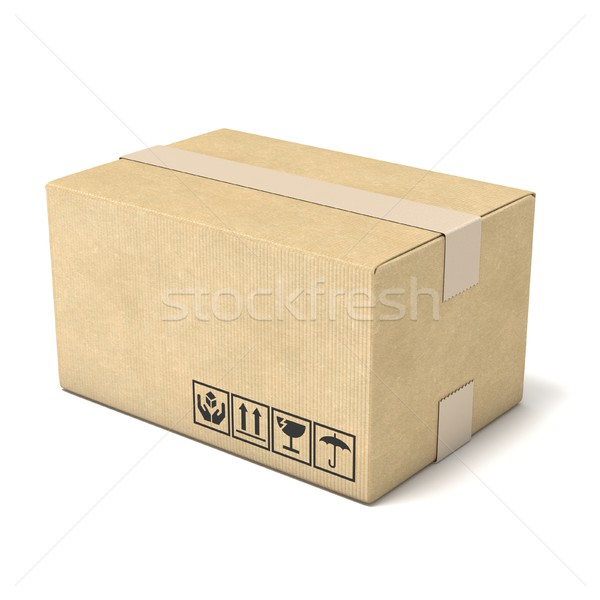 Cardboard box. Deliver concept. 3D Stock photo © djmilic