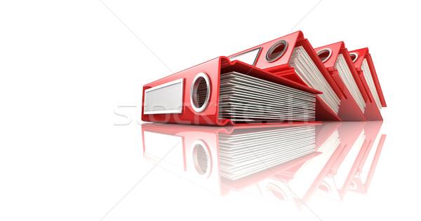 Red office binder folders. 3D Stock photo © djmilic