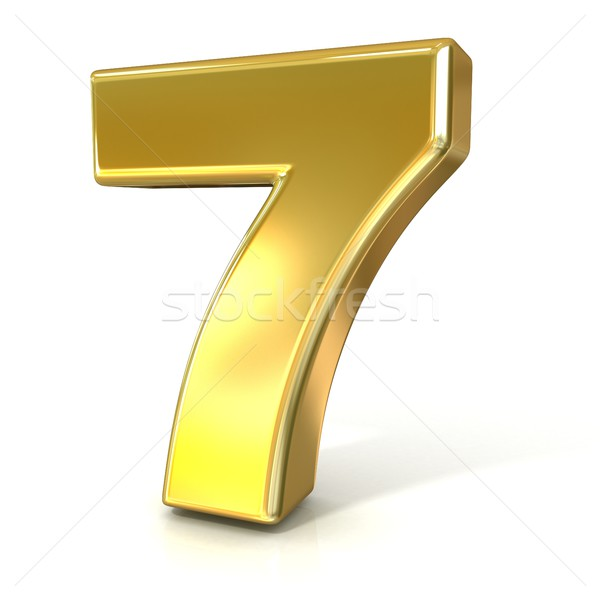 Numerical digits collection, 7 - SEVEN. 3D golden sign Stock photo © djmilic